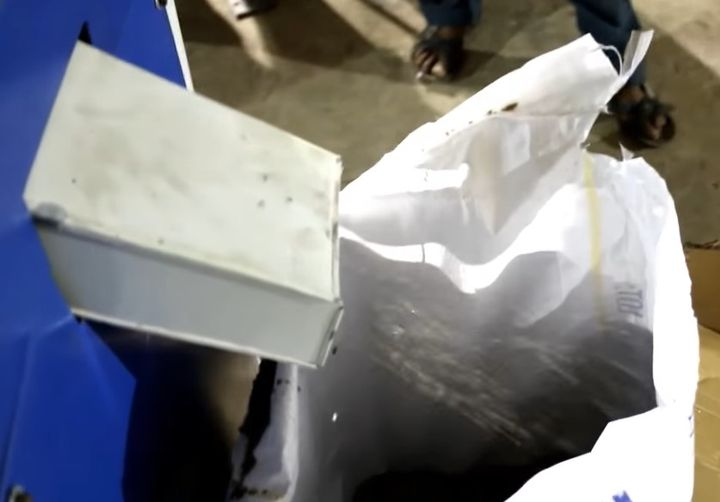Plastic granules being processed and collected. - Screencapture Via Twitter