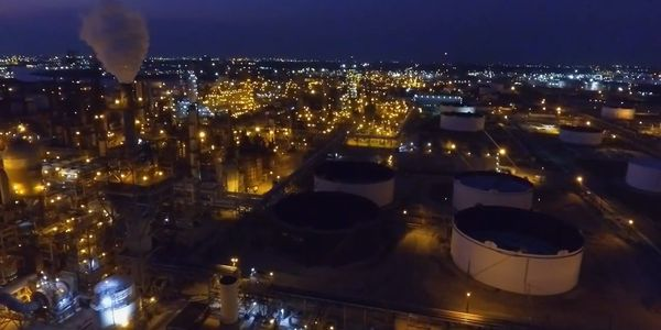 Nighttime aerial shows expansive LyondellBasell complex in Houston.