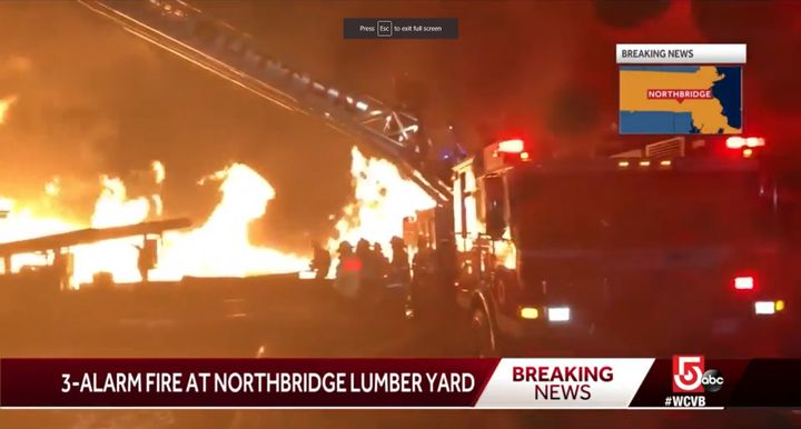 Lack of available water hindered firefighting efforts at a wood processing plant in Massachusetts. - Screencapture Via WCVB