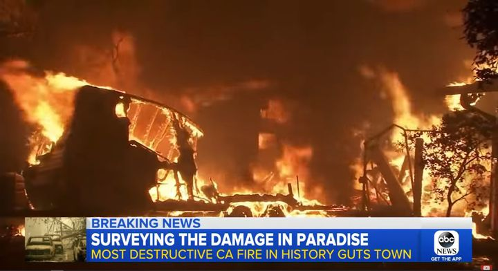 Flames sweept through the California town of Paradise during the 2018 Camp Fire. - Screencapture Via ABC News