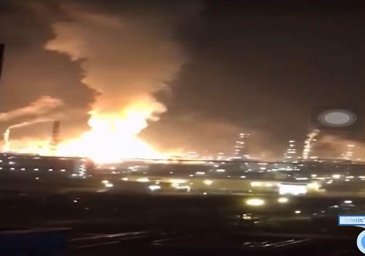 Refinery fire lights up the night sky over Pengerang, Malaysia. - Screencapture Via Buletin TV 3