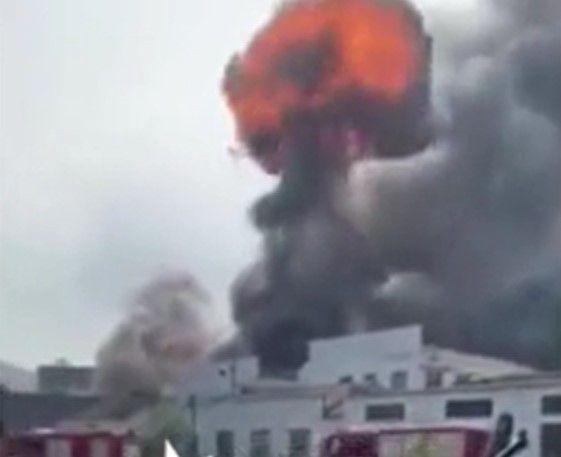 A massive fireball rises from a burning factory in Ningbo, China. - Screencapture Via China Press