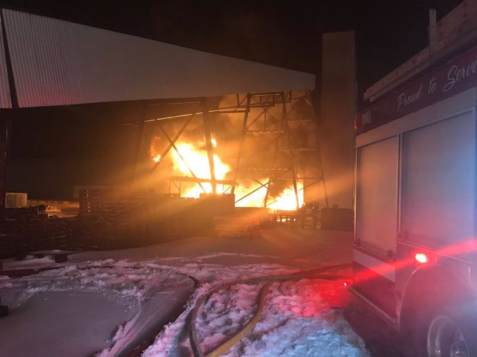 A chemical fire swept through three storage tanks at a Canadian potash mine Saturday night. - Photo Courtesy of Saskatoon Fire Department