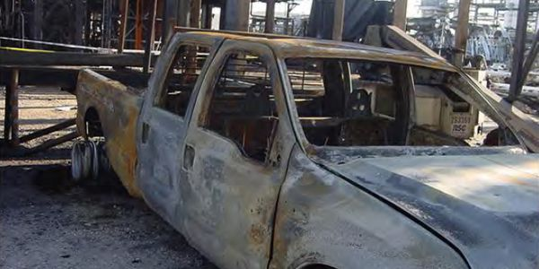 The pickup truck believed to be the ignition point for the 2005 BP refinery explosion in Texas...