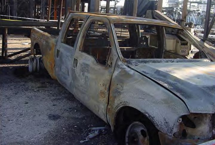 The pickup truck believed to be the ignition point for the 2005 BP refinery explosion in Texas City, Texas. - Photo Courtesy of Chemical Safety Board