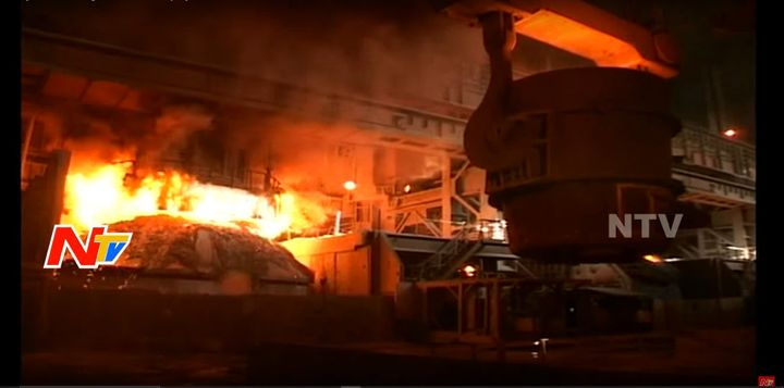 Production continued at Visakhapatnam Steel Plant despite a fire Thursday. - Screencapture Via YouTube
