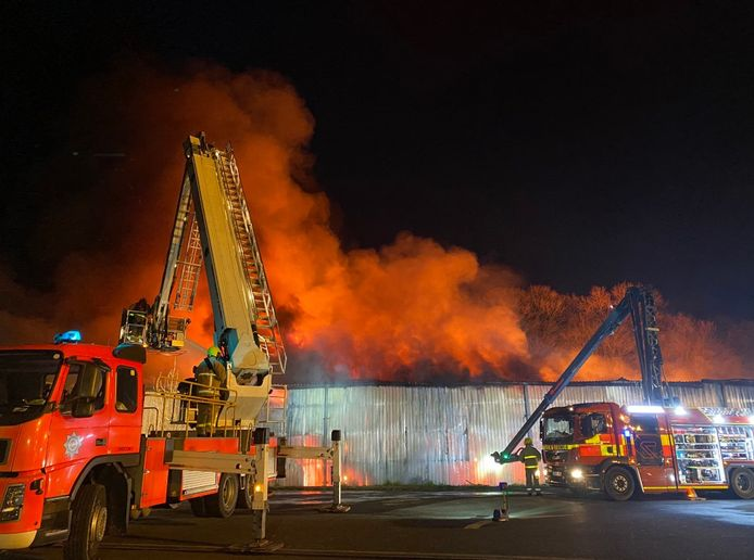 Flames destroyed a warehouse storing textiles in Adlington, England. - Photo Courtesy of Lancashire Fire and Rescue