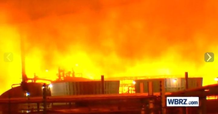 Massive flames at a Baton Rouge refinery in February are being blamed on air trapped in a hydrocarbon line. - Screencapture Via WBRZ