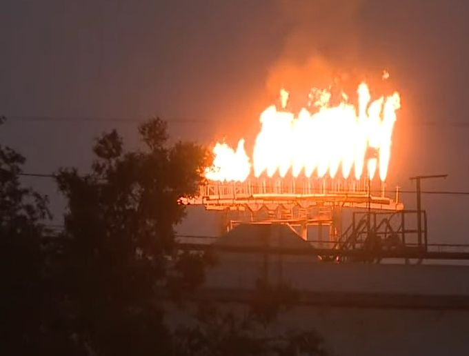 Safety flares ignite at a Chalmette, Louisiana, refinery Saturday after a lightning strike caused a power outage. - Screencapture Via WWL