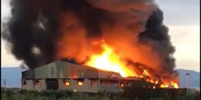 Recycling Plant Gutted by Flames in Spain