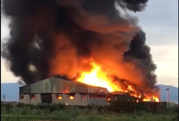 A plastics recycling plant in Fuente Alamo, Spain, went up in flames Saturday. - Screencapture Via YouTube
