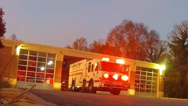 A fire truck leaves the station in Farmville, North Carolina. - Screencapture Via YouTube