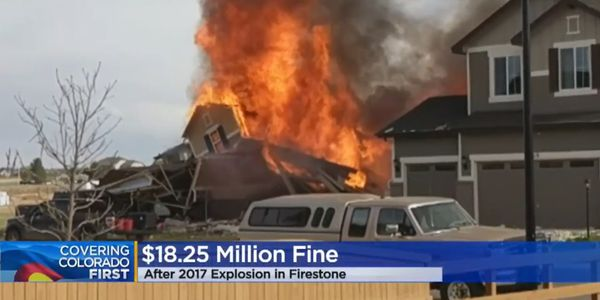 A Firestone, Colorado, home goes up in flames after an explosion in2017.