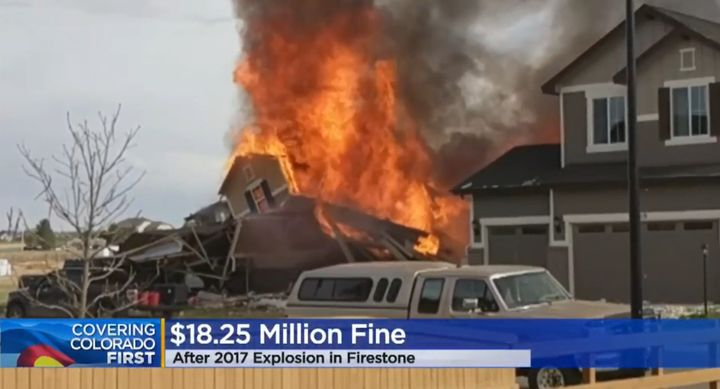 A Firestone, Colorado, home goes up in flames after an explosion in2017. - Screencapture Via KCNC