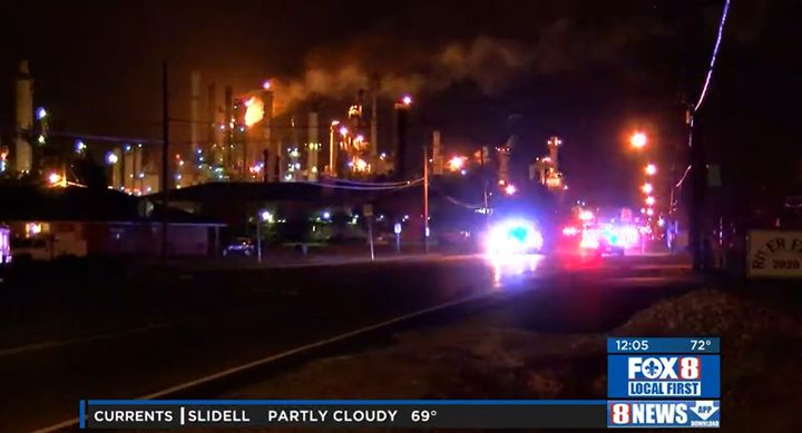 Heavy flaring is still apparent hours after an explosion rocked the Valero refinery in Merau, Louisiana, Friday. - Screencapture Via WGMB