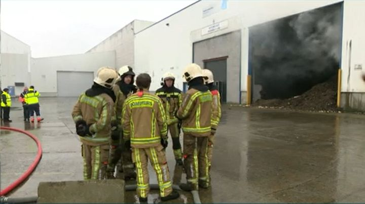 The factory in Frameries, Belgium, during a previous fire last January. - Screencapture Via RTL