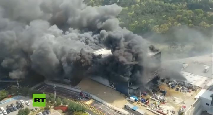 Flames swept through new construction at a semiconductor plant Wednesday afternoon in Icheon, South Korea. - Screencapture Via RT