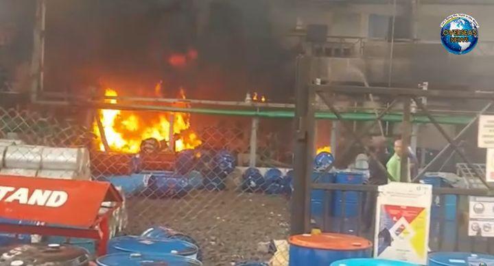 Flames spread inside an drug R&D facility in India Sunday. - Screencapture Via Overseas News