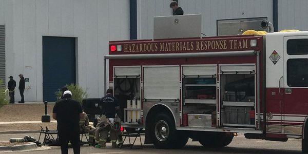 Hazmat crew arrives at an ammonia leak in Lubbock, Texas, Saturday.