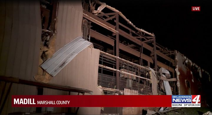 A tornado demolished a wire manufacturing plant in Madill, Oklahoma, Wednesday. - Screencapture Via KFOR