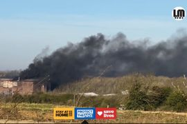 Stubborn Industrial Estate Fire Darkens Sky Above England