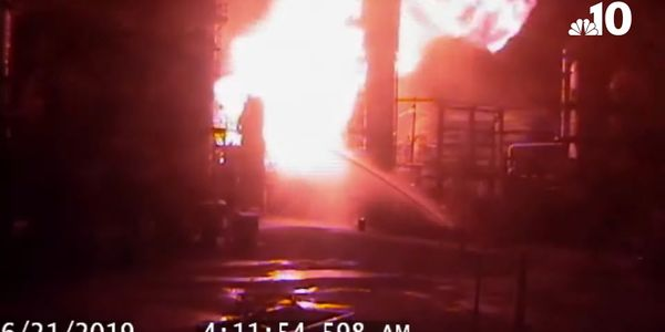 A survellance camera shows the moments after a vapor cloud ignited at the Philadelphia Energy...