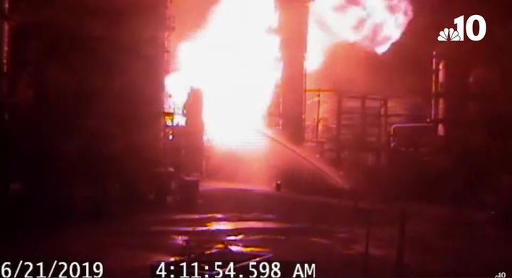 A survellance camera shows the moments after a vapor cloud ignited at the Philadelphia Energy Solutions refinery in June 2019. - Screencapture Via WCAU