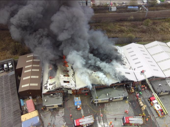 Three industrial buildings out of an industrial estate of seven were destroyed by fire in Salford, England. - Photo Courtesy of Greater Manchester Fire and Rescue Service