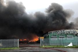 UK Firefighters Battle Blaze at Plastics Recycling Plant