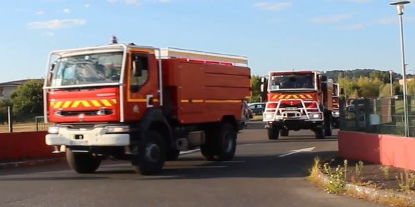 Fire trucks with the Service Départemental d'Incendie et de Secours du Tarn (SDIS 81) line up...