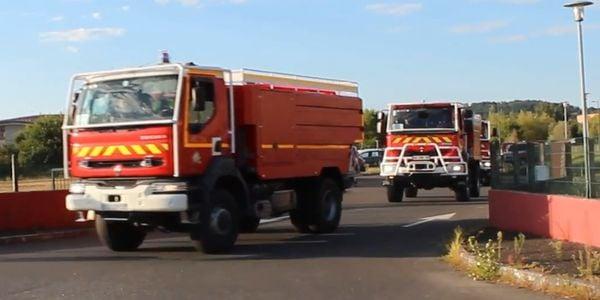 Fire trucks with the Service Départemental d'Incendie et de Secours du Tarn (SDIS 81) line up...
