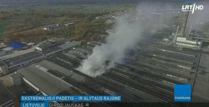 A stubborn tire recycling plant fire last October in Alytus, Lituania, burned more than a week. - Screencapture Via LRT Televizija