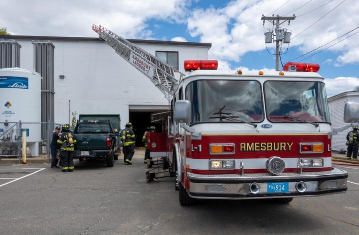 Flash fire Tuesday at a Massachusetts defense plant injured one. - Photo Courtesy of Amesbury Fire Department IAFF Local 1783