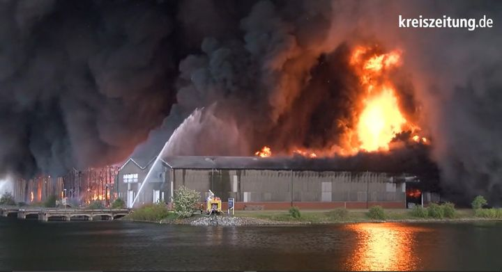 Tuesday fire in Bremen, Germany, represented a fraction of what burned the previous week. - Screencapture Via YouTube