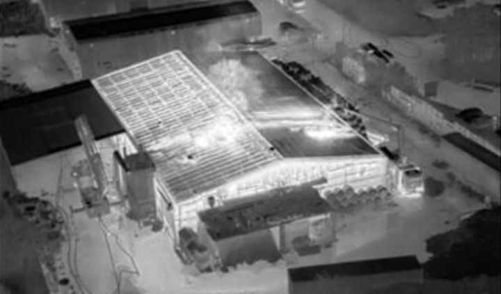 An aerial photo taken of a rubber matting factory burning in Burnley, U.K. - Photo Courtesy of Lancashire Fire and Rescue Service