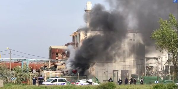 A blowtorch was in use when flames spread through a closed factory Thursday in France.