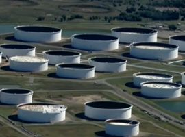 Jumbo storage tanks in Cushing, Oklahoma, filled to the top with crude oil.