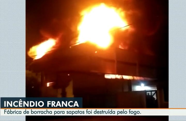A factory making rubber for shoes burned in Brazil Thursday morning. - Screencapture Via GCN