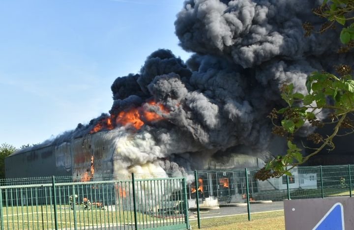 Employees evacuated a burning pork packing plant Wednesday in France with no injuries. - Photo Courtesy of SDIS 62