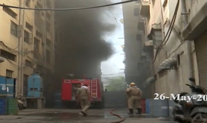 Shoe factory fire broke out Tuesday in Delhi, India. - Screencapture Via YouTube