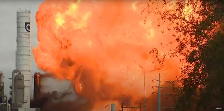 The second massive explosion reported at TPC in November 2019. - Screencapture Via KHOU