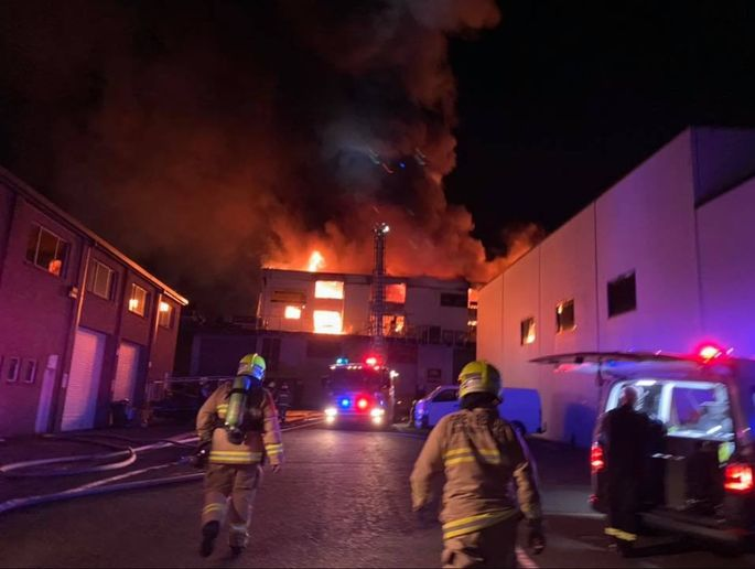 Factory building in south Sydney, Australia, gutted by flames Sunday night. - Photo Courtesy of Fire and Rescue NSW Station 020 Hurstville
