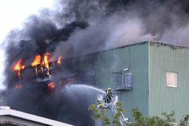 German Firefighters Battle Chemical Plant Inferno