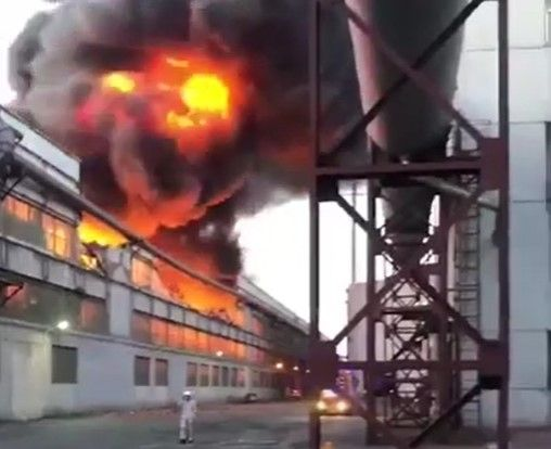 Flames gut the interior of a steel plant Sunday in Anshan, China. - Screencapture Via YouTube