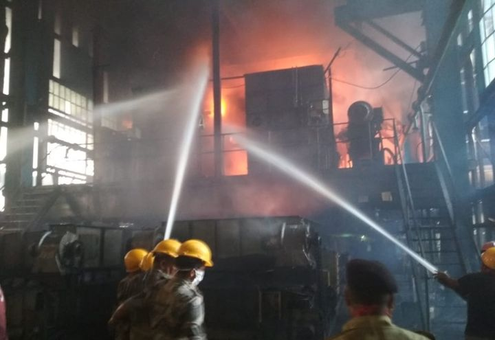 Firefighters battle flames spreading through a 40-foot-tall area of a power plant boiler unit Thursday in India. - Photo Courtesy of CISF