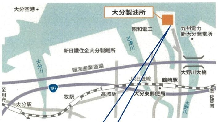Map shows layout of JXTG refinery in Oita City, Japan. - Map Courtesy of Oita City Government