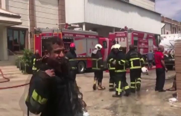 Fire broke out at a textile mill Sunday in Turkey. - Screencapture Via Medya Urfa