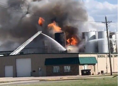 Flames reported Friday at a feed mill in Sioux City, Iowa, would rekindle Sunday night. - Screencapture Via KMEG