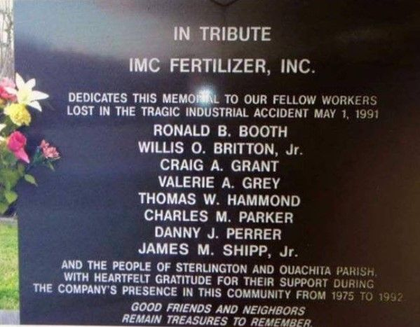 Memorial to the eight fatalities in the May 1991 explosion at a Sterlington, Louisiana, chemical plant. - Photo Courtesy of Spencer/West Sterlington Fire Department