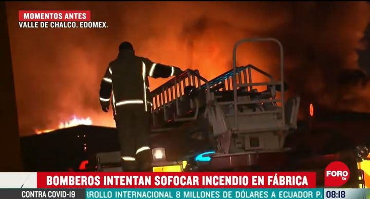 Firefighters battled a warehouse fire several hours Wednesday near Mexico City. - Screencapture Via FORO TV